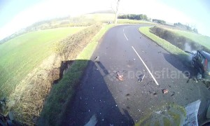 Lorry dashcam shows terrifying crash as car loses control rounding a bend