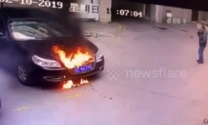 Car bursts into flames after child vandals inserted lit firework into bonnet