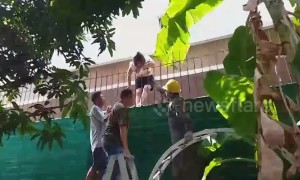 Bangkok grandma rescued after being impaled on railing after balcony fall
