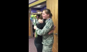 Soldier surprise visits little sister at school after returning home
