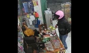 Sleepy shopkeeper dozes through robbery in Indonesia