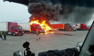 Trucks Burn in Furious Flames