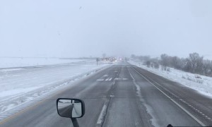 Icy Interstate at a Standstill After Crash