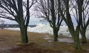 Ice Chunks Crash over Retaining Wall