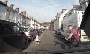 Lucky escape: UK driver's quick reactions save day after little girl walks into road