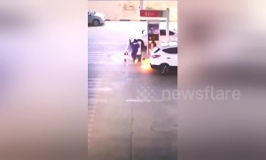 Petrol station workers react quickly when car fuel tank ignites at petrol pump