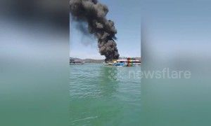 Over 50 passengers rescued from burning ferry in Malaysia