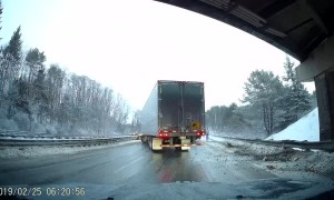 Semi Truck Slides Out on I-95