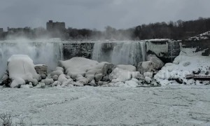 Broken ice from Lake Erie partially blocks Niagara Falls
