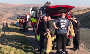 Fire crews attend scorched earth near Saddleworth Moor