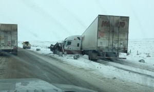 Crazy Semi Wreck in Wyoming