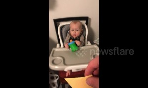 Hilarious moment father tosses cheese slice, landing on baby's face