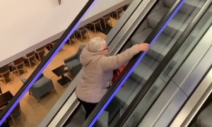 Mom Exercises on the Escalator