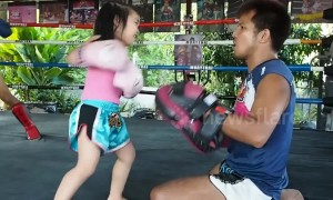 Five-year-old Muay Thai prodigy packs a punch while training with her father