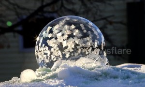 Beautiful footage of a bubble freezing at -30C in Canada's Saskatchewan