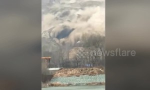 Massive landslide in China's Gansu buries fields and triggers power outages