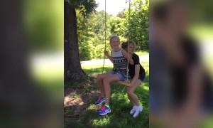 Woman has Funny Fall in Slo-Mo