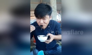 Instant regret? Man eats a squid ink sac, staining his lips and teeth black