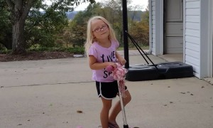 Little Girl has Scooter Mishap