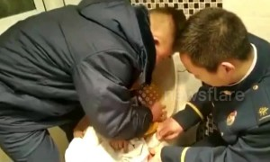 Firemen free boy who got stuck in toilet while playing on a phone