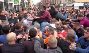 Punches thrown and mass brawls at the annual Atherstone Ball Game