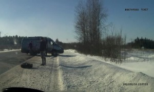 Out of Control Tire Causes Two Wrecks