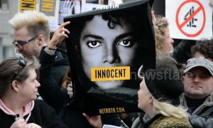 Michael Jackson fans protest outside Channel 4 London HQ ahead of 'Leaving Neverland' broadcast