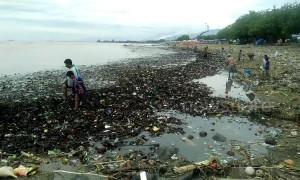 Tide of plastic garbage floods coast off Indonesia