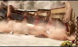 Corner of school building in northeast India completely collapses