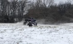 Monster Truck Doing Donuts in the Snow