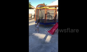 Parents buy child a trampoline only for her to run circles around it