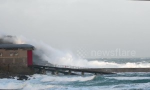 Gale force winds and waves batter the Cornish coast at Sennen