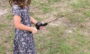 Fishing Surprise Send Little Girl Running