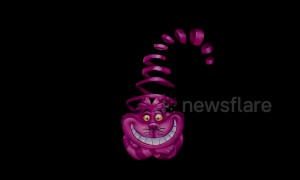 Awesome bodypaint illusion looks like moving Cheshire Cat