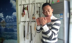 This man in China crafts DIY flutes from bricks, a plastic pipe and a bicycle pump