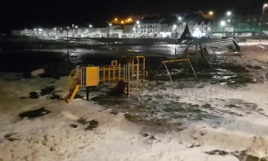 Flooding in Northern Ireland as Storm Gareth rains breach sea wall