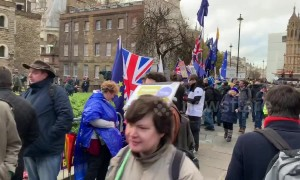 Brexit protesters congregate outside UK parliament as May deal rejected