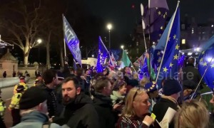 Tensions rise as Brexit protesters gather outside UK parliament