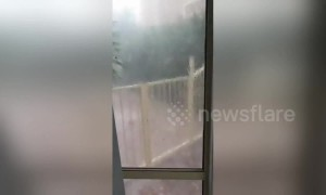 Hail storm breaks window causes crazy waves in backyard pool