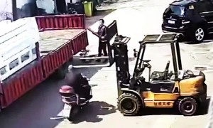 Helmet saves scooter driver's life after his head bumps into forklift