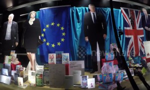 UK bookshop decks out windows in Brexit themed decorations