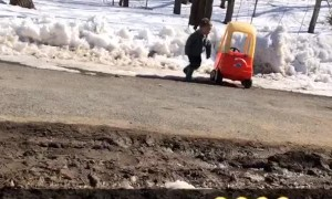 Kid's Toy Car Gets Stuck in the Snow