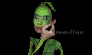 Serbian artist creates amazing Grinch bodypaint illusion