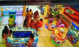 Horrifying moment 4x4 smashes through children's arcade in Philippines