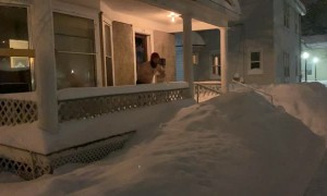 Snow-Mageddon Porch Jump Fail