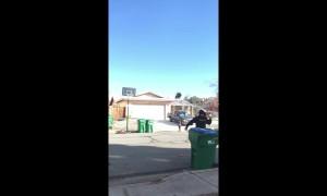 Man makes awesome deflection ball shot through basketball hoop
