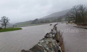 Flooding strikes Yorkshire area leaving some roads totally submerged