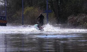Man on jet-ski makes the most of flooding on submerged Yorkshire roads