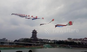 Chinese man flies 700-metre-long home-made kite into sky