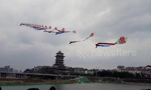 Chinese man flies 700-metre-long home-made kite into sky